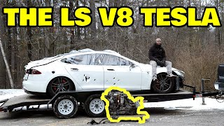 Building The Worlds First V8 Swapped Tesla
