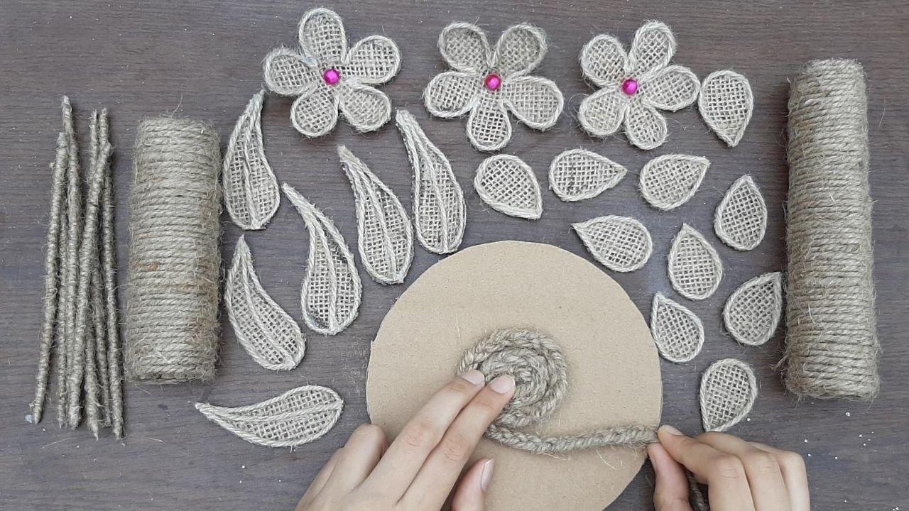 DIY Jute Flower With Vase Decoration || Showpiece Making with Jute || Jute Burlap Decoration Design