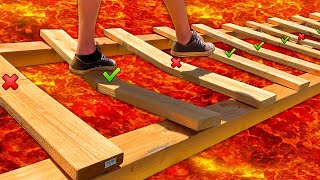 TRAP DOOR BRIDGE Floor is LAVA Obstacle Course!