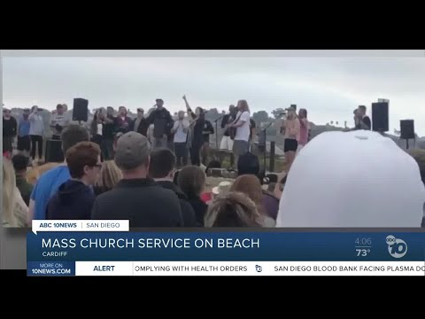 Mass Church Service On Beach