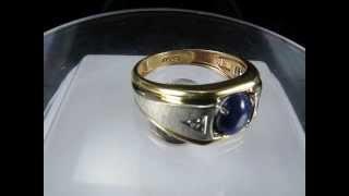 Estate 2CT Star Blue Sapphire Diamond Men Mens Ring 10K White Yellow Gold VideO