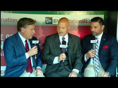 Nationals General Manager Mike Rizzo talks with Bob Carpenter and F.P. Santangelo