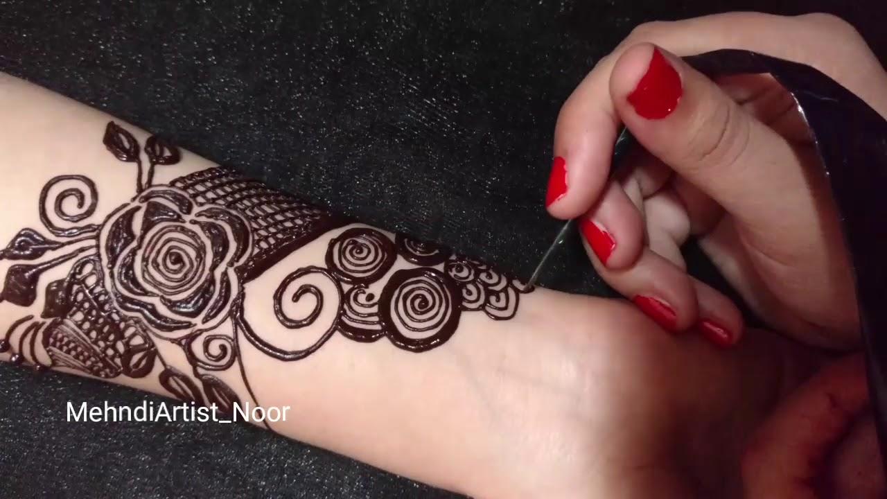 Stylish Rose Mehndi Design For Front Hand Simple Rose Mehndi Design By Mehndi Artist Noor Youtube