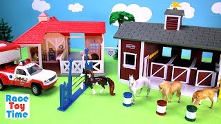 Horse Stable Barn and Animal Rescue Breyer Playset - Toy Animals Video For Kids