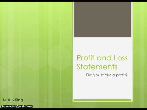 Profit and Loss Statements - understanding the sections and structure