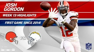 Josh Gordon Highlights, First Game Since 2014! | Browns vs. Chargers | Wk 13 Player Highlights