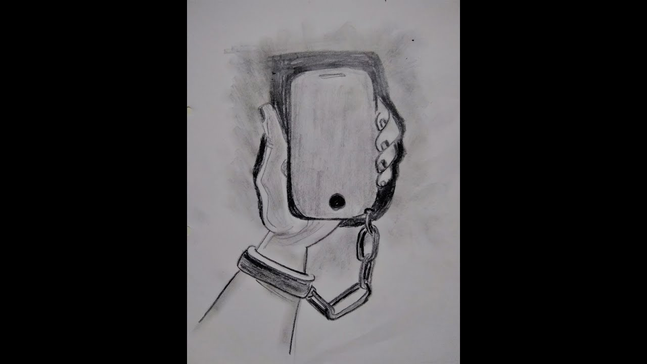 Phone trapped hand sketch how to draw a meaningful drawing