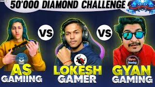 LOKESH GAMER VS GYAN GAMING  AS GAMING | 1 V 1 CLASH SQUAD 5 LAKH DIAMOND CHALLENGE