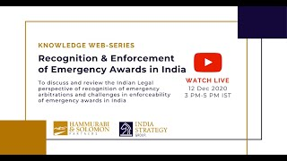 [Live Webinar] Recognition & Enforcement of Emergency Awards in India