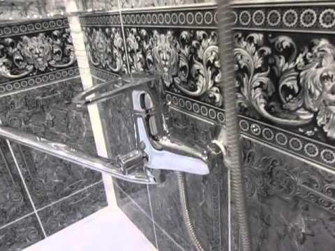 ремонт ванной комнаты ПВХ панелями Черный Лев