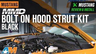 homepage tile video photo for 2018-2019 Mustang MMD Bolt On Hood Strut Kit - Black Review & Install