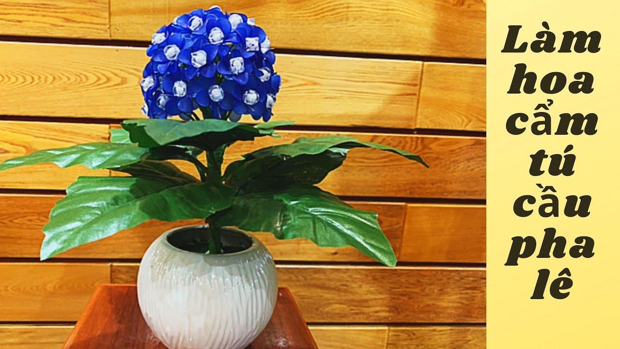 Hướng dẫn cách tự làm chậu hoa cẩm tú cầu đá pha lê | DIY flowers | Thanh Hằng HandMade