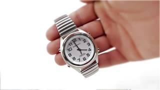 Produktvideo zu Sprechende Funk-Armbanduhr Metall-Zugarmband White