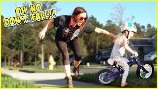 4 year old rides bike for the first time will she get hurt