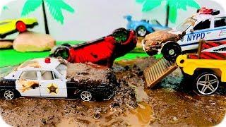 Persecución Policial de Coches Policías | Car Wash Police Cars in the Mud | Street Vehicles for Kids