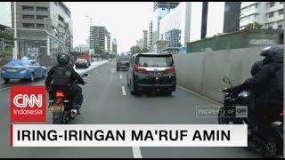 Iring-iringan Mobil Ma'ruf Amin Menuju Istana