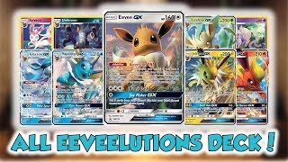 ALL THE EEVEELUTIONS IN 1 DECK! | Crazy Mewtwo & Mew Tag Team GX Deck!