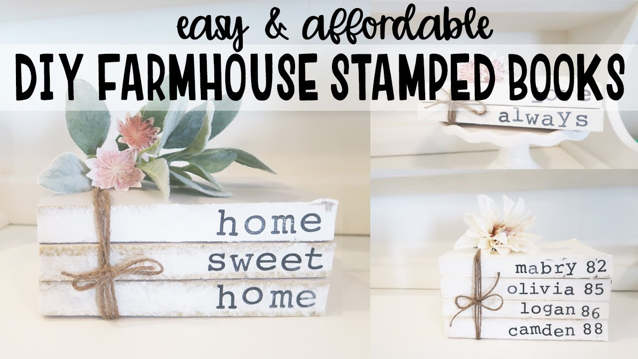 7723a4e56763c DIY FARMHOUSE STAMPED BOOK SETS / How to Make Stamped Books / Mother's Day  Gift