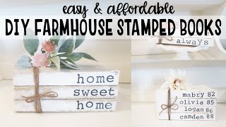 DIY FARMHOUSE STAMPED BOOK SETS / How to Make Stamped Books / Mother's Day Gift
