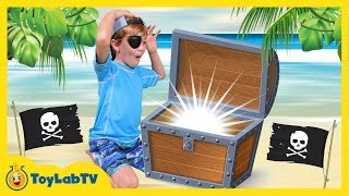 Real Life Pirate Treasure Chest Toy Hunt w/ Surprise Toys Opening Animal Planet Shark Fun Kids Video
