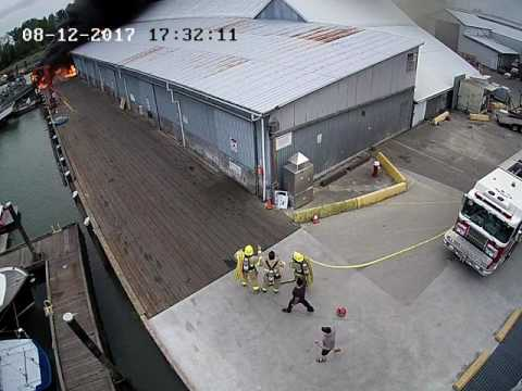 Steveston Harbour Wharf Fire Security Camera Footage