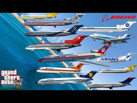 GTA V Boeing 727-200 Passenger & Cargo Planes Falling to Sea / Water Best Longer Crash Compilation