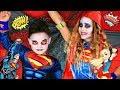 DC Kids Superman and Supergirl Makeup and Costumes! DC Kids Halloween Secret Box Challenge!