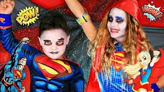 DC Kids Superman and Supergirl Makeup and Costumes! DC Kids Halloween Secret Box Challenge!