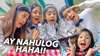 Siblings DIZZY Waiter Challenge! (Ay NAHULOG Haha!) | Ranz and Niana