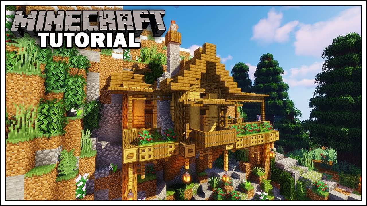 Minecraft Starter Cliffside House Tutorial  How To Build