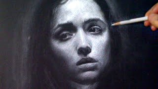 White Charcoal Portrait - Melancholy mood - art video