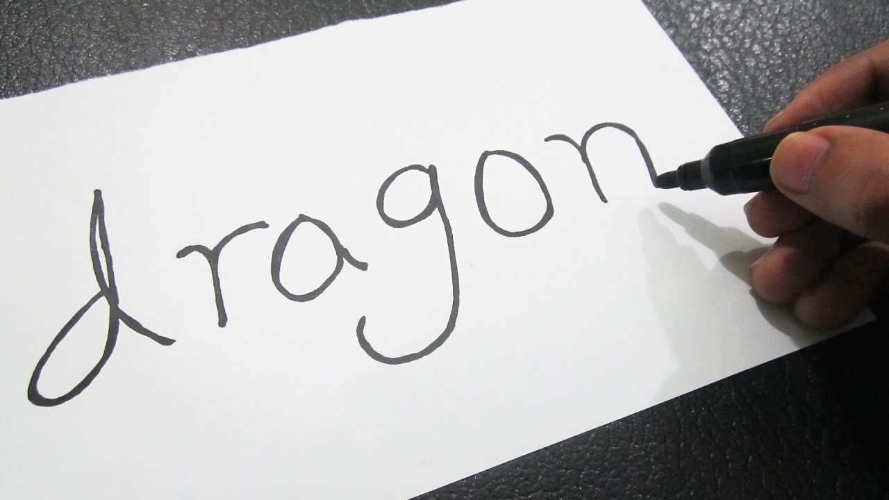 How To Turn Words Dragon Into A Cartoon ! Learn Drawing Art On Paper For  Kids