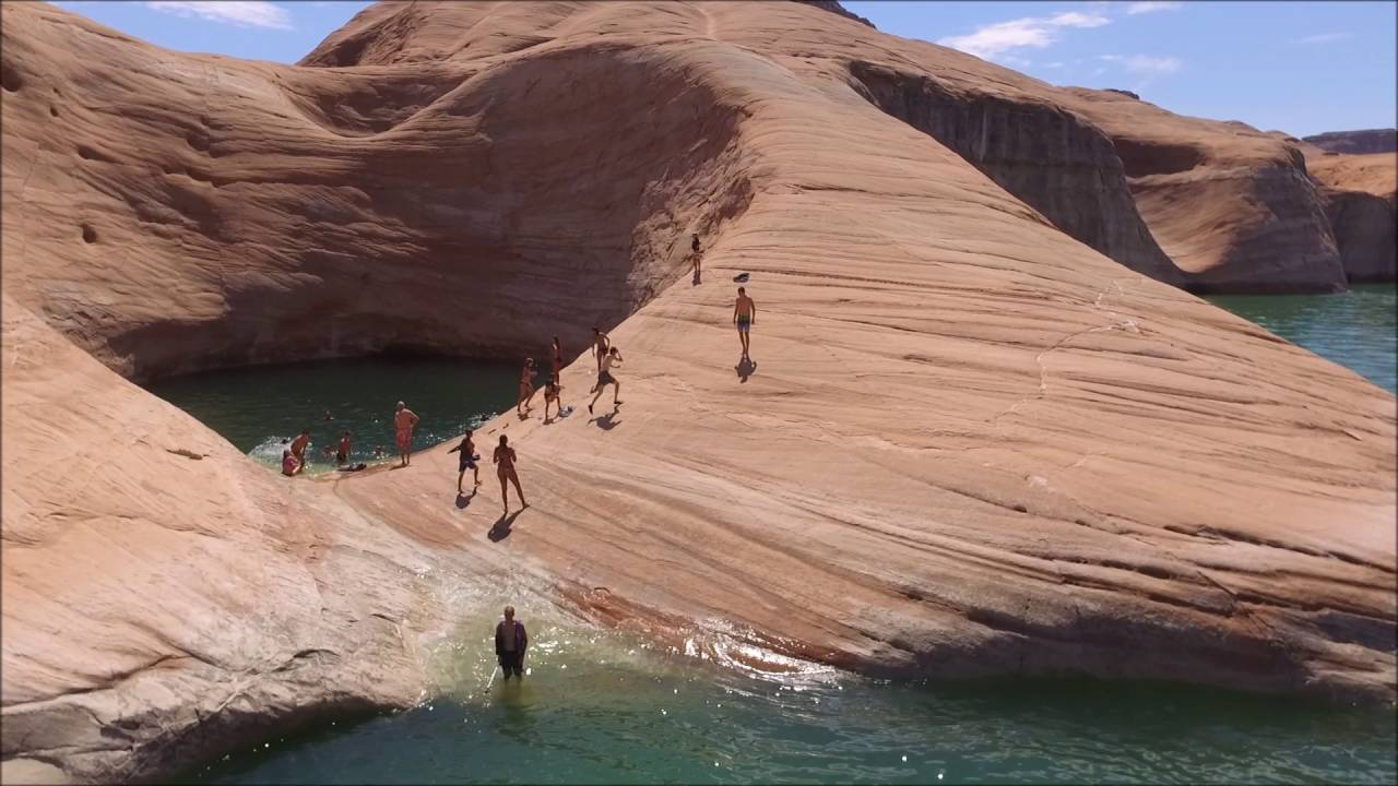 Great Blue Swimming Hole Drone At Lake Powell August