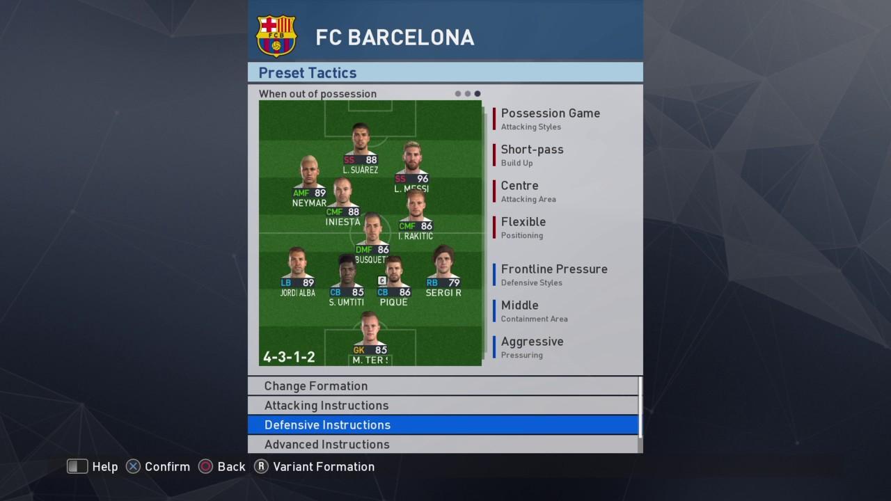 Pes 2017 Tactics Barcelona Update Youtube