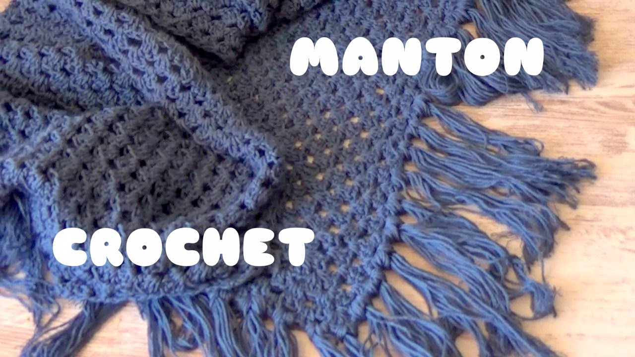 CHAL/MANTON TRIANGULAR DE CROCHET CON FLECOS FACIL | MANTON ...