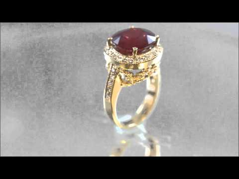 18K YELLOW GOLD CUSHION RUBY AND ROUND CUT DIAMOND ANTIQUE DESIGN RING 5.80CTW - KNR INC - 619 1