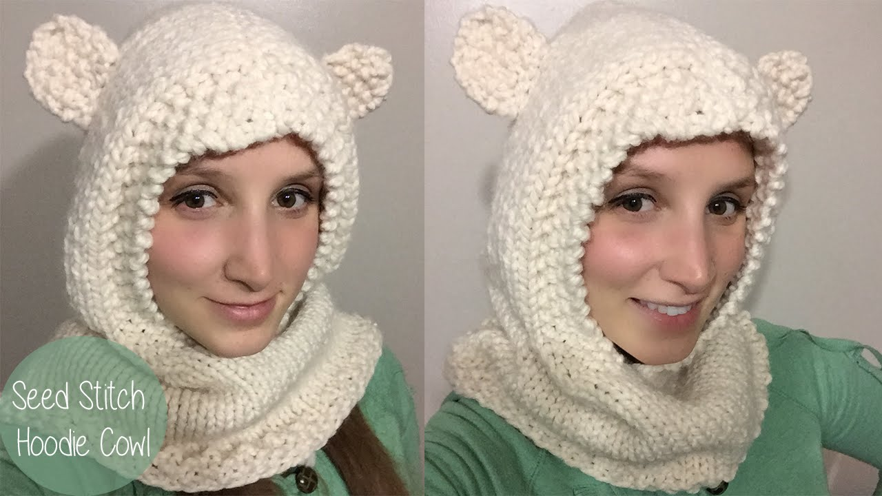 KNITTING TUTORIAL-SEED STITCH HOODED COWL - YouTube