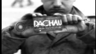 U.S. Army Chaplain (Rabbi) Captain David Max Eichhorn arrives at Dachau concentra...HD Stock Footage