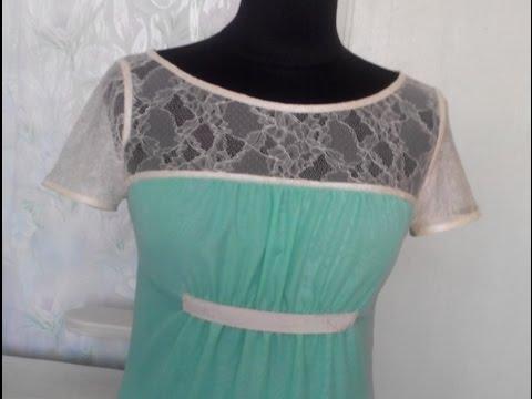 #184.шью платье из шифона,кокетка из гипюра