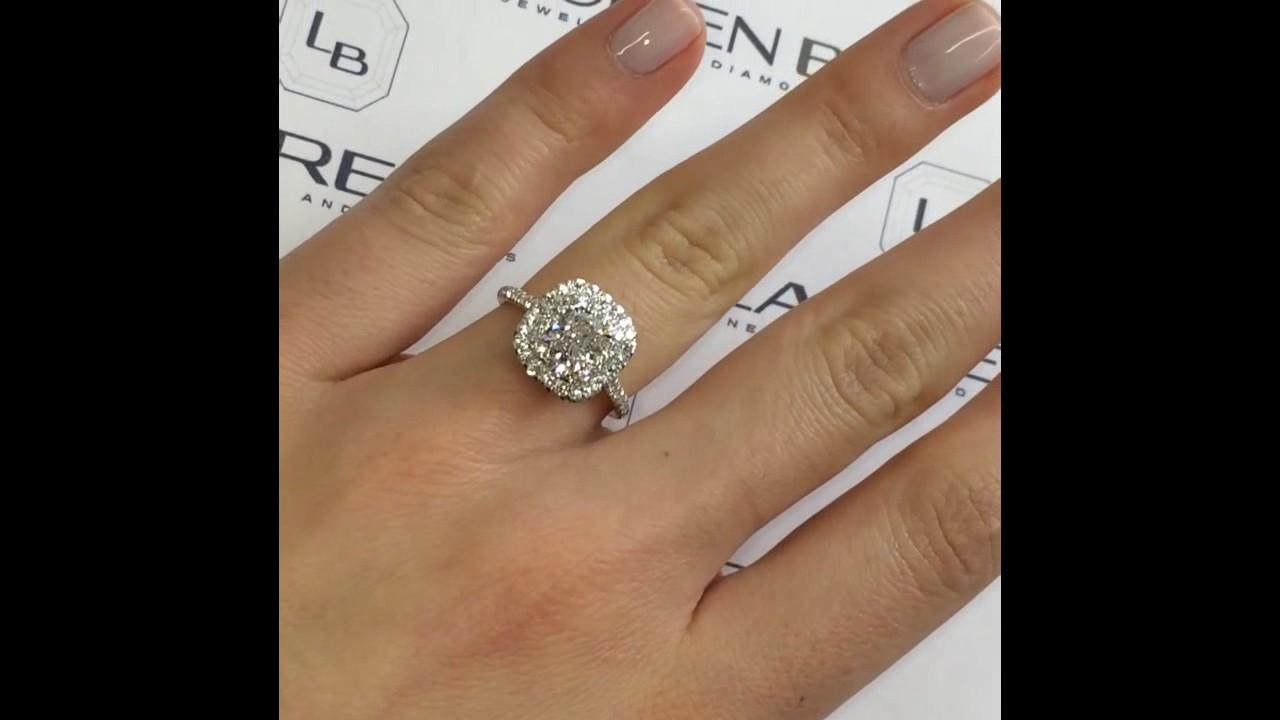 Carat cushion cut diamond engagement ring thin band youtube - 1 21 Ct Cushion Cut Diamond Halo Engagement Ring