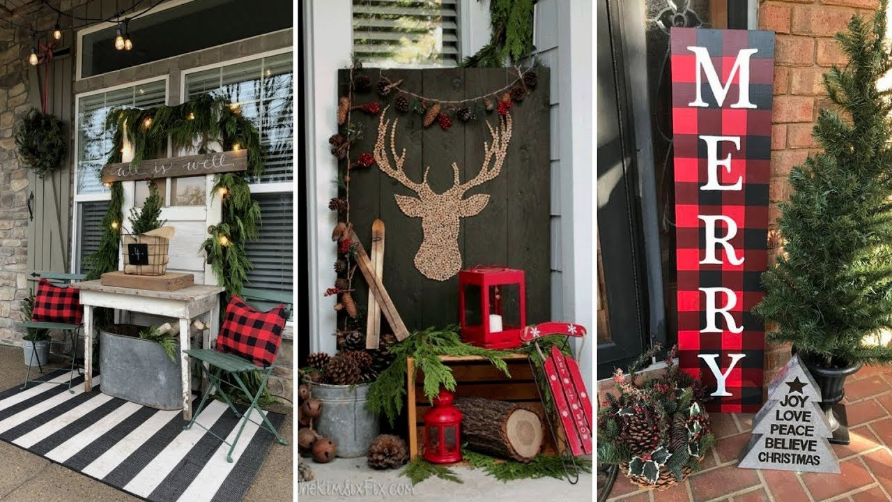 ❤DIY Rustic Farmhouse Style Christmas Front Porch Decor Ideas❤ | Front Door  Decor| Flamingo Mango