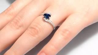 Кольцо серебряное с нано сапфиром