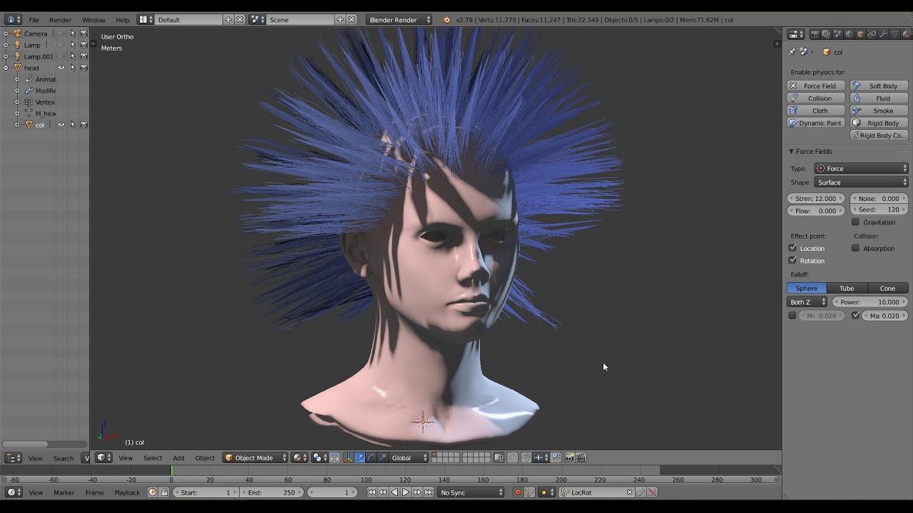 Hair collisions setup blender 2 79