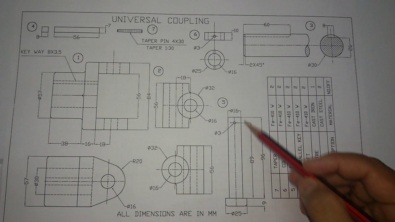 UNIVERSAL COUPLING manual drawing part 2  YouTube