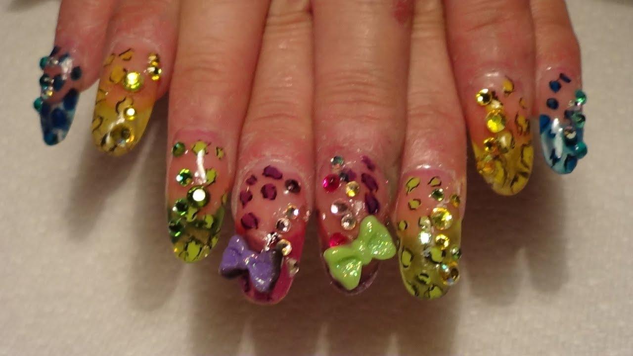 Tecnica de pluma fuente y gota de arte en uñas. - YouTube