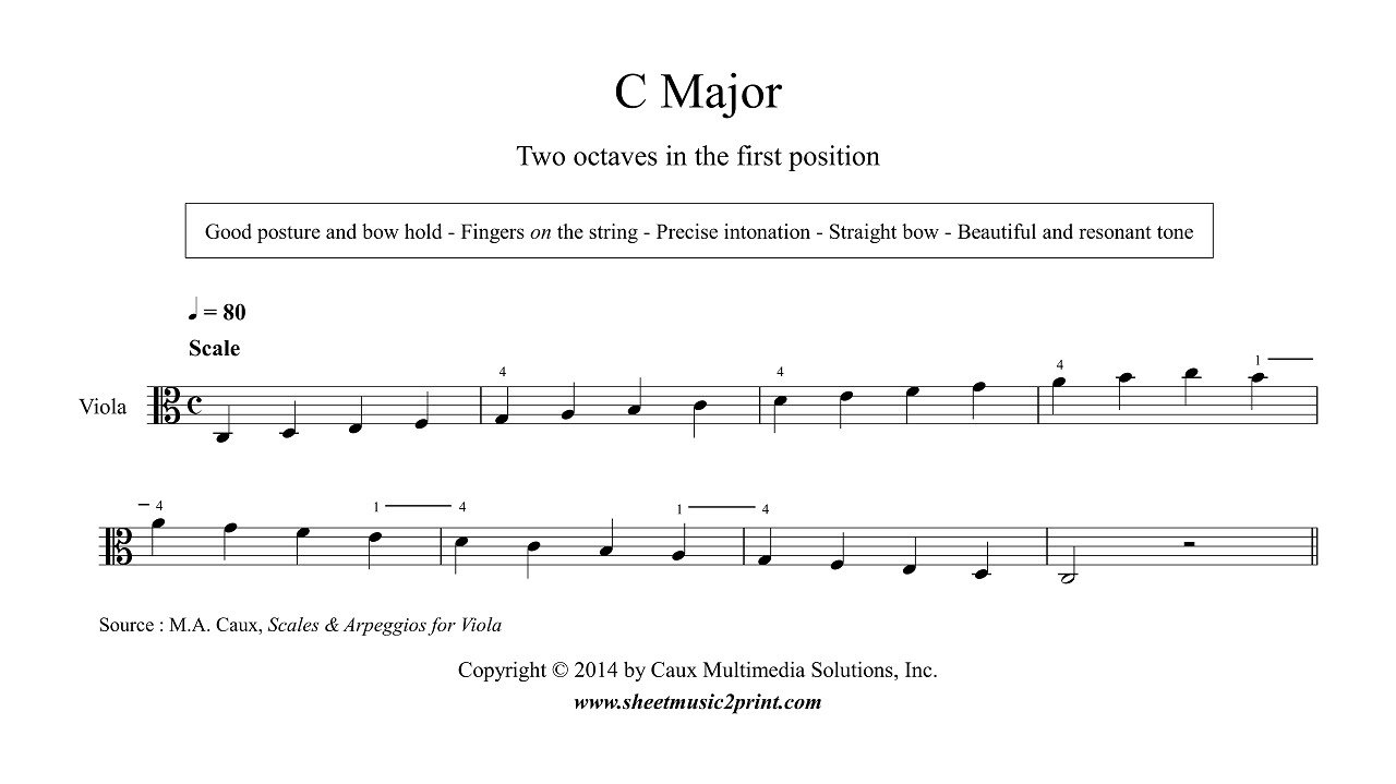 Viola : C Major Scale & Arpeggio - Grade 2 - YouTube