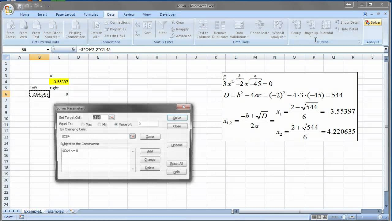 Solver in Excel example - YouTube