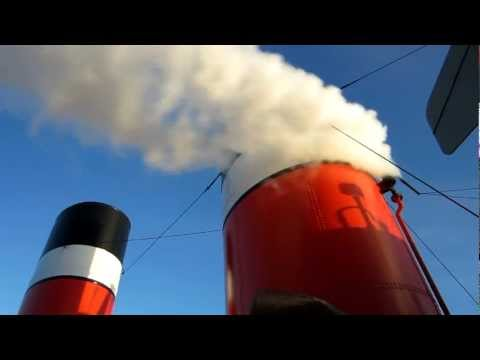 Paddle Steamer Waverley. Steam whistle on final departure from Largs 16th October 2011.