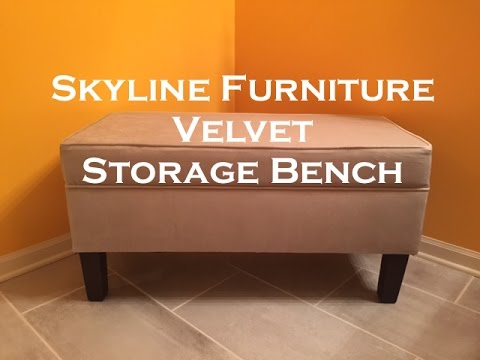 Skyline Furniture Upholstered Velvet Storage Bench Ottoman
