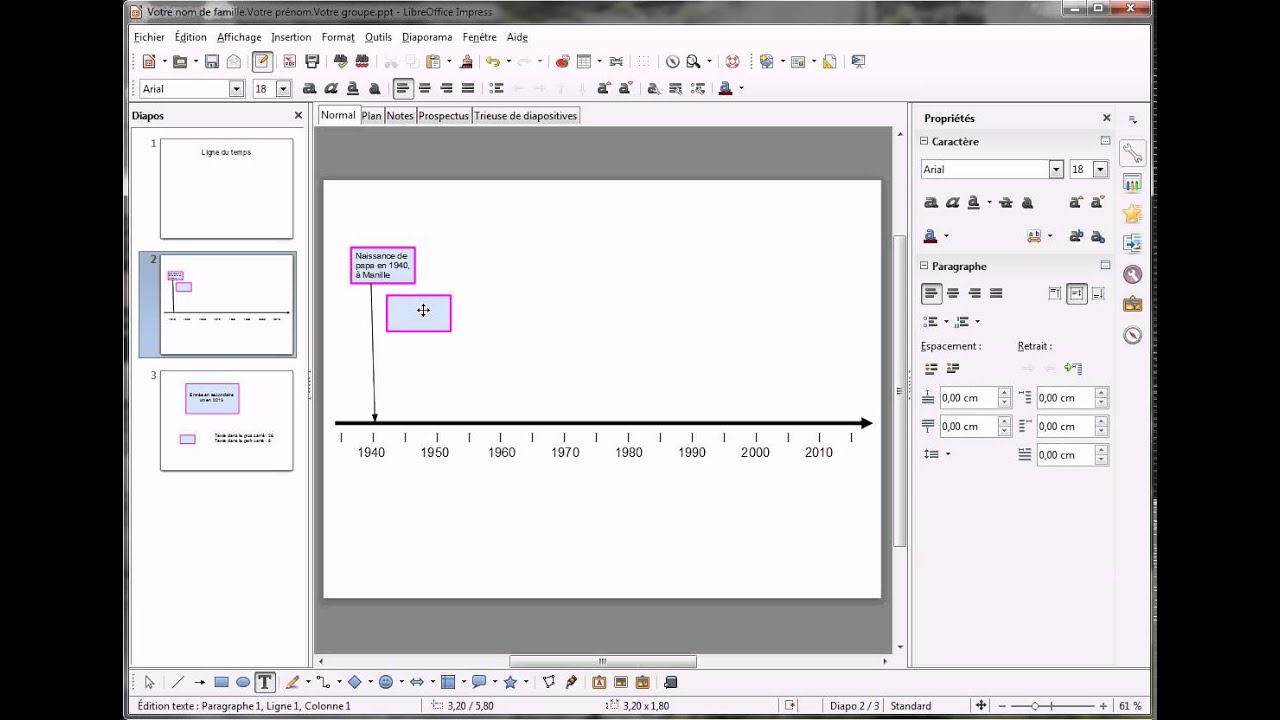 Ligne du temps libreoffice impress youtube - Comment faire un diaporama sur open office ...